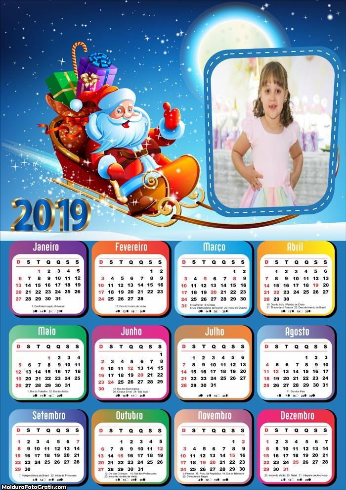 Calendário Papai Noel em seu Trenó 2019