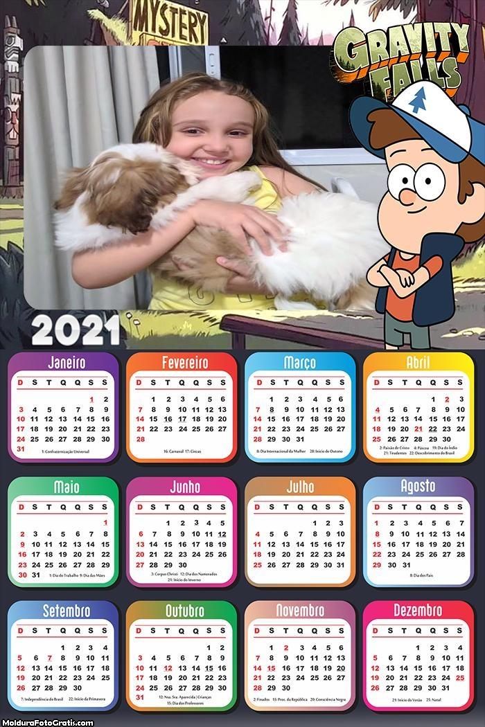 Calendário Dipper Gravity Falls 2021