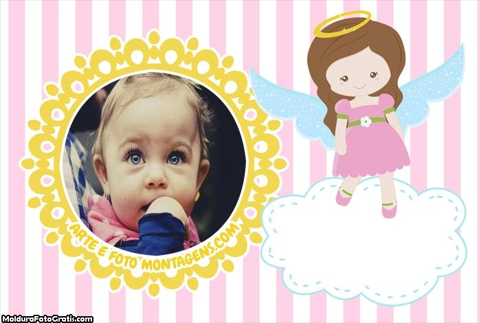Anjinha Cute Rosa Meninas Moldura