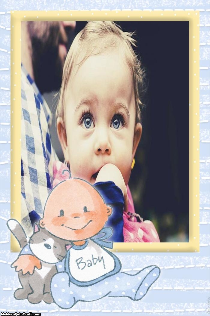 Bebê e Gatinho Moldura