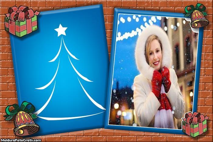 Cartão Azul Clima de Natal Moldura