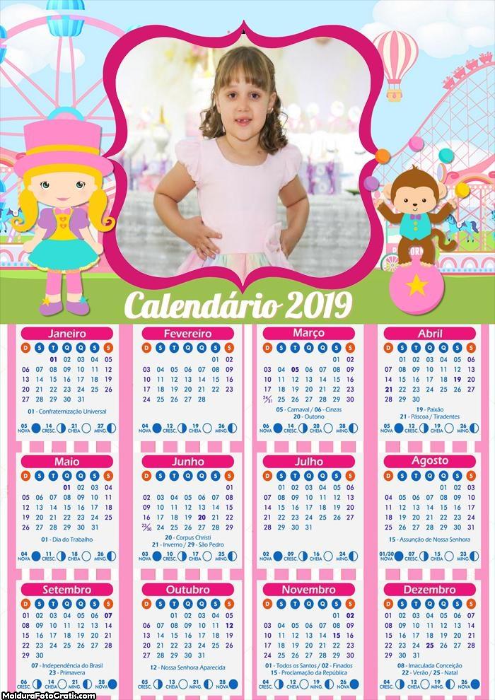 Calendário Circo Rosa Menina 2019