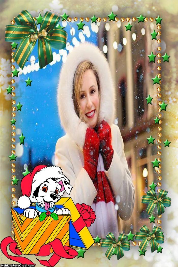 Cachorrinho Presente de Natal Moldura