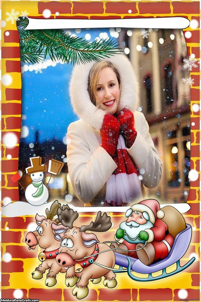 Renas De Natal com Papai Noel Moldura