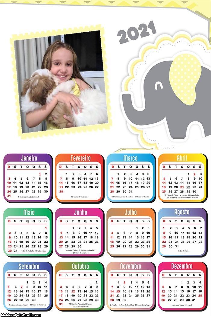 Calendário Elefantinho Amarelo e Cinza 2021