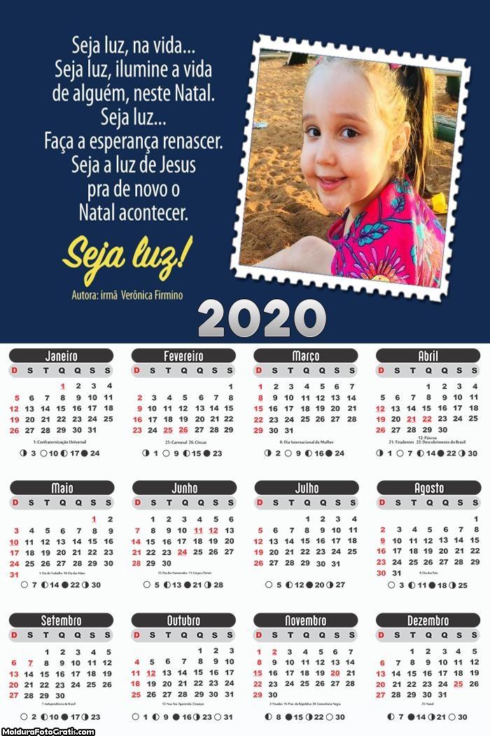 Calendário com Mensagem Natal 2020