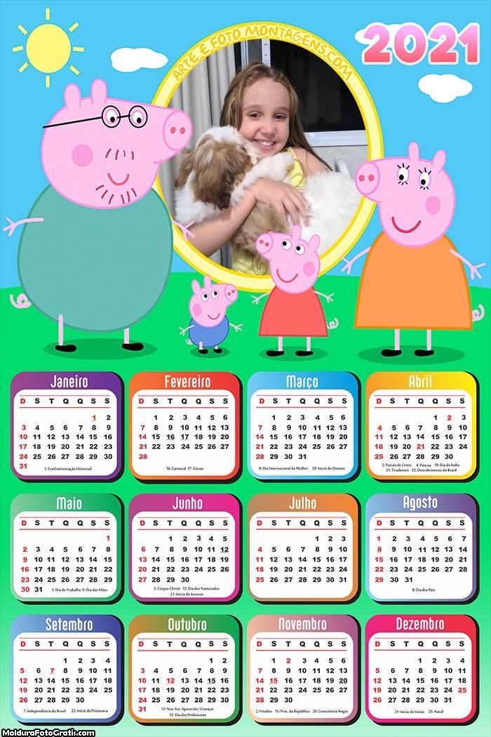 Calendário Família Peppa Pig 2021
