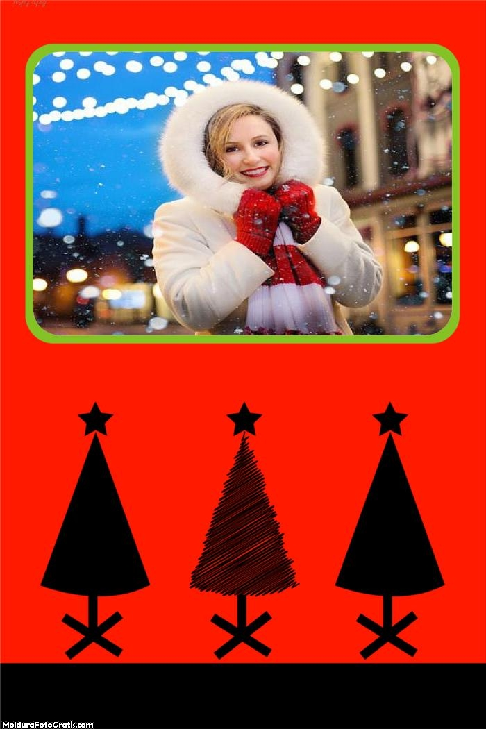 Três Árvores de Natal Moldura