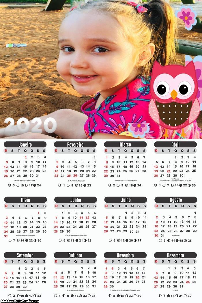 Calendário Corujinha 2020