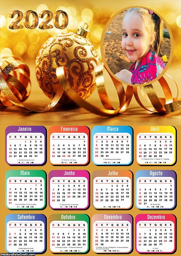 Calendário Natal Dourado 2020
