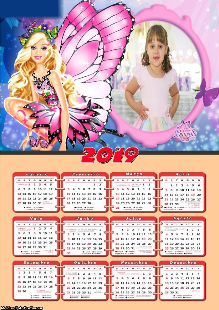 Calendário Barbie Butterfly 2019
