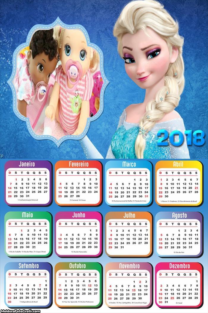 Calendário Princesa Elsa Frozen 2018