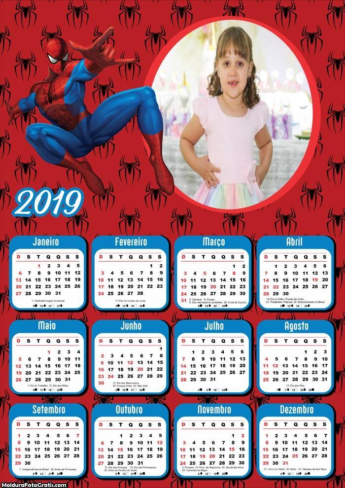 Calendário Homem Aranha Infantil 2019