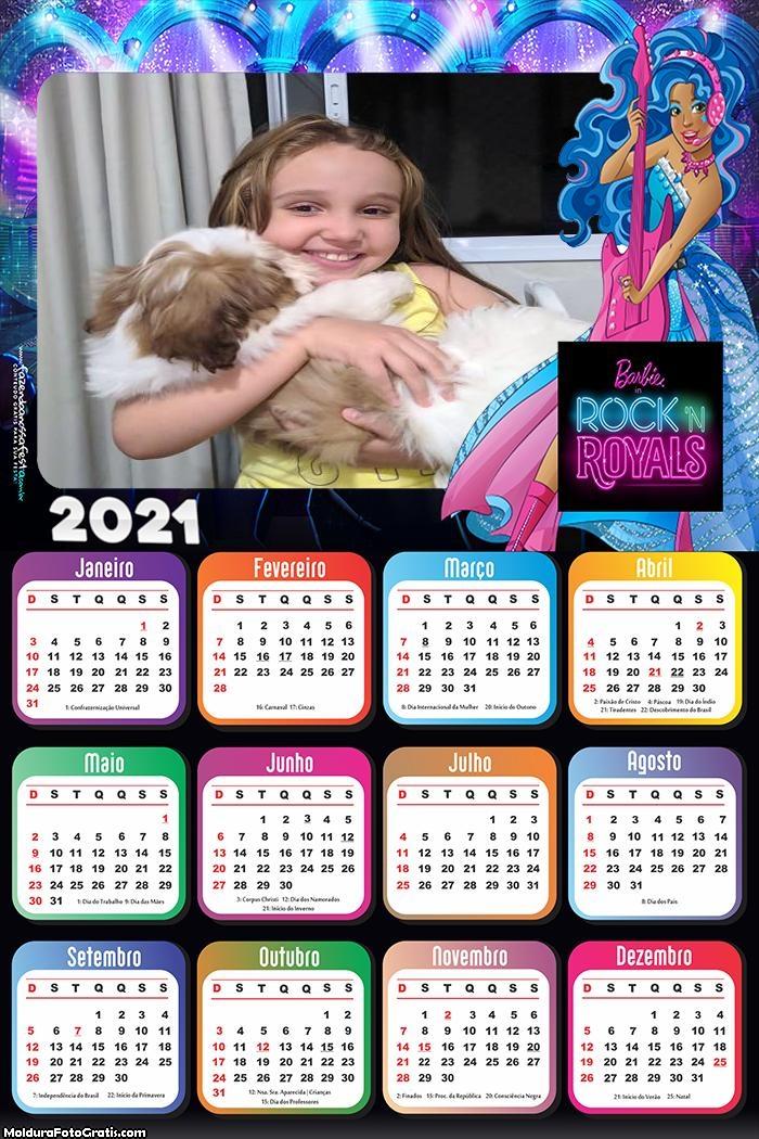 Calendário Barbie Rainhas do Rock 2021