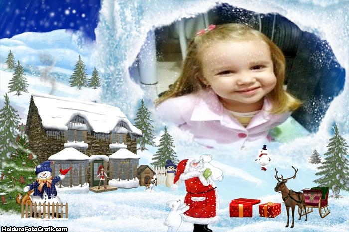 FotoMoldura Papai Noel no Dia do Natal