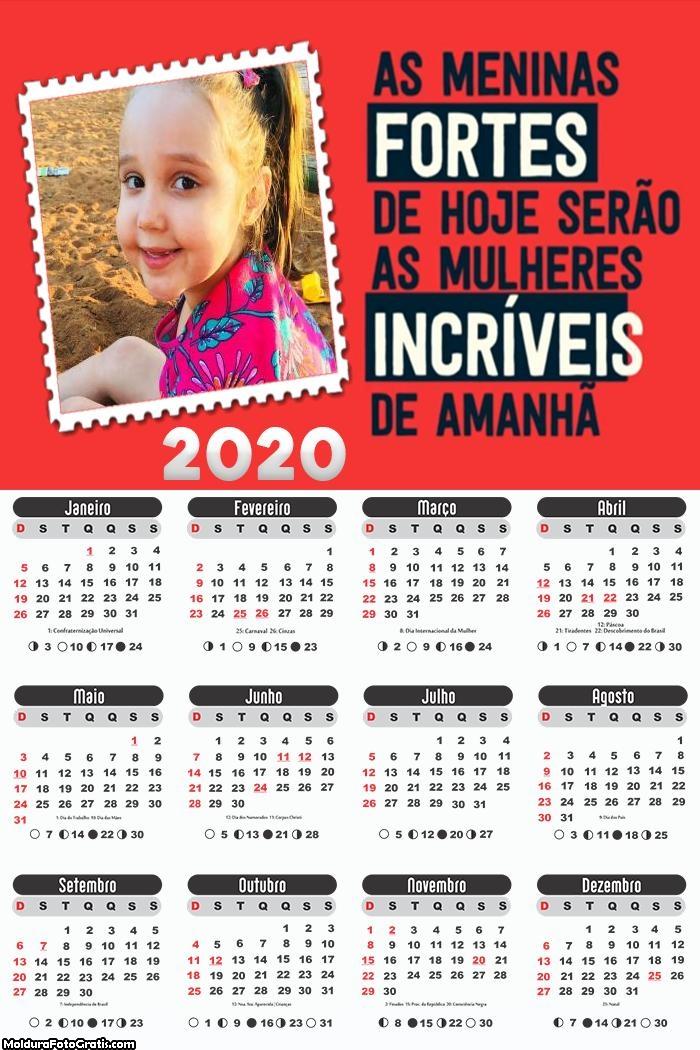 Calendário Meninas 2020