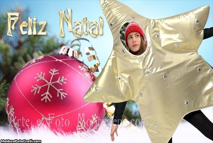 Feliz Natal Face in Hole Moldura