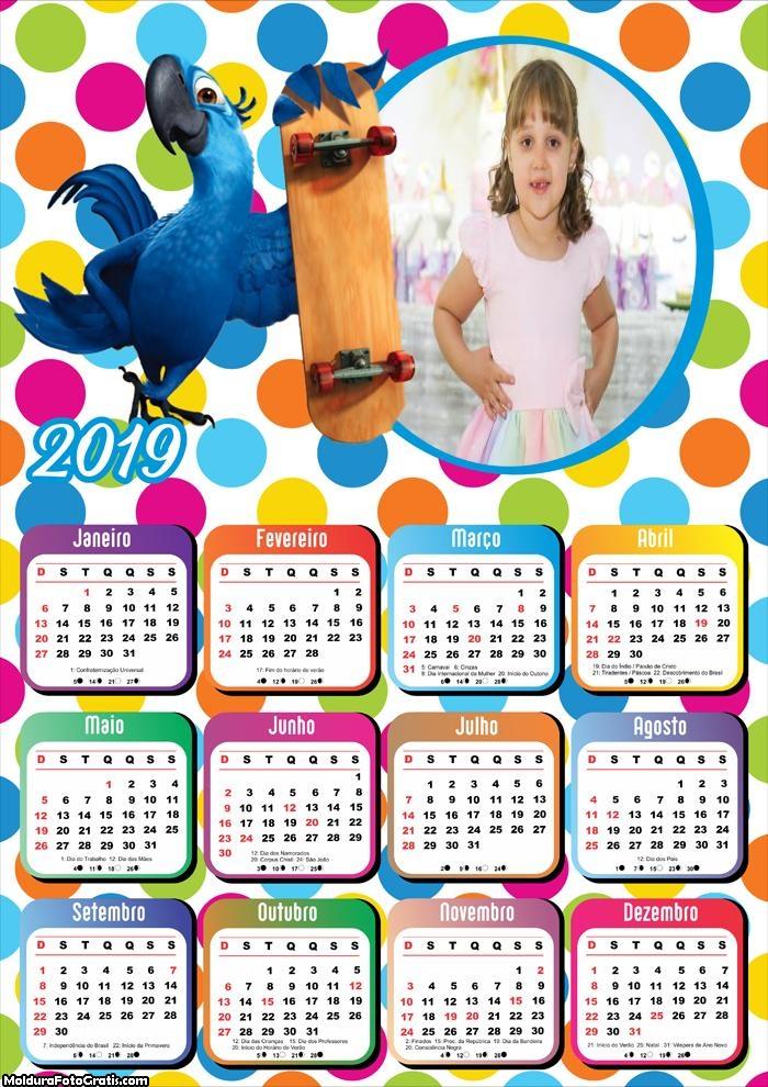 Calendário Arara Azul Skate Rio Filme 2019