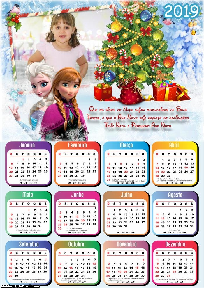 Calendário Mensagem de Natal Frozen 2019
