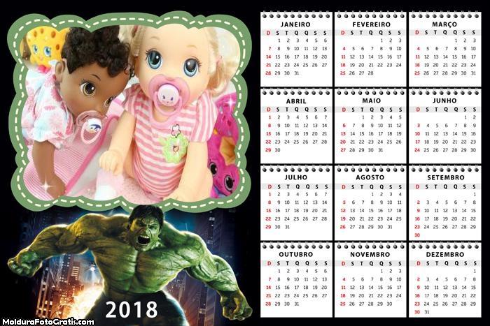 Calendário Hulk 2018