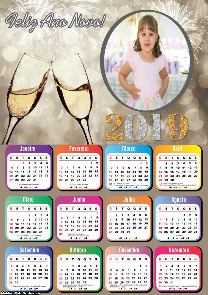 Calendário Réveillon 2019