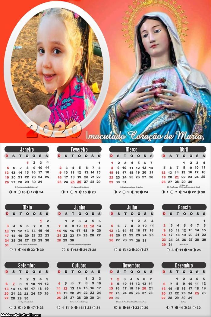 Calendário Imaculado Coração de Maria 2020