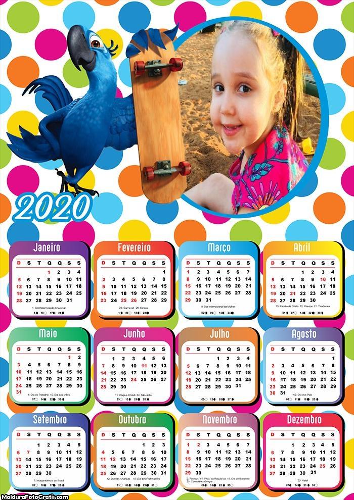 Calendário Arara Azul Skate 2020