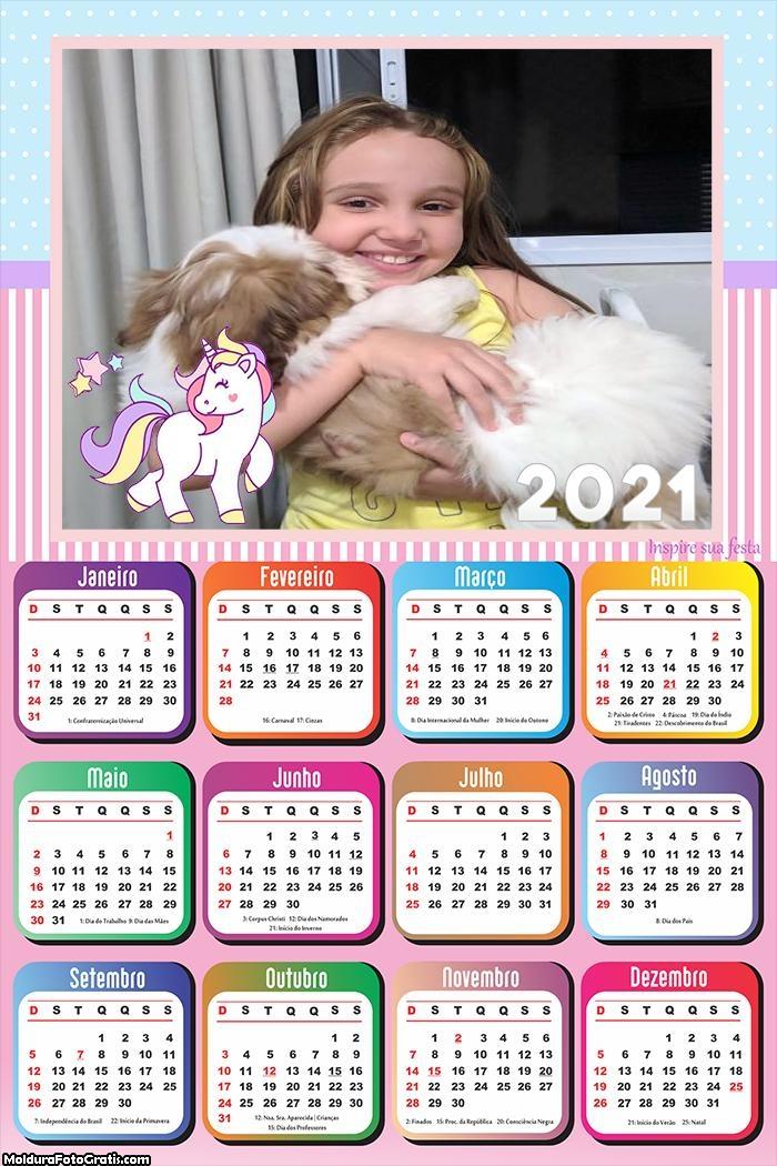 Calendário Unicórnio 2021