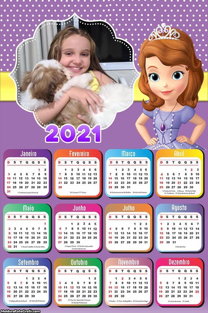 Calendário Princesa Sofia 2021