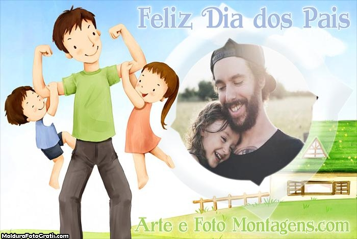 Dia dos Pais Filho e Filha Moldura