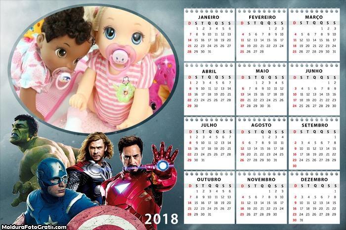 Calendário Vingadores 2018
