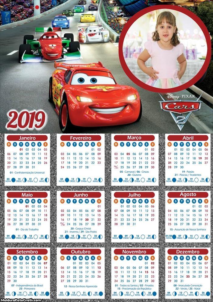 Calendário Carros Disney 2019