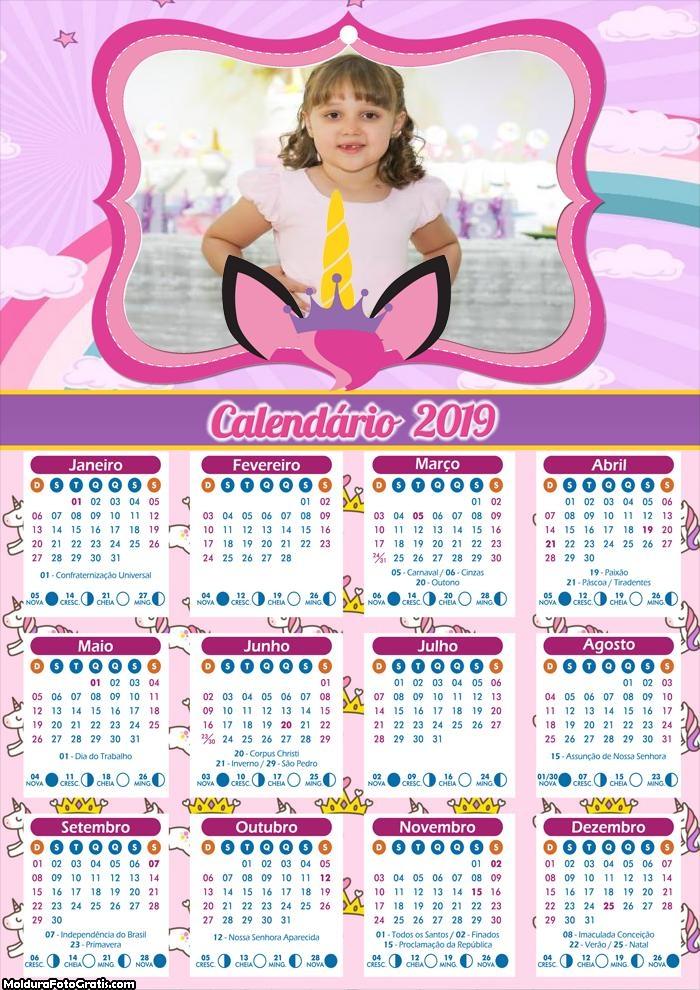 Calendário do Unicórnio 2019