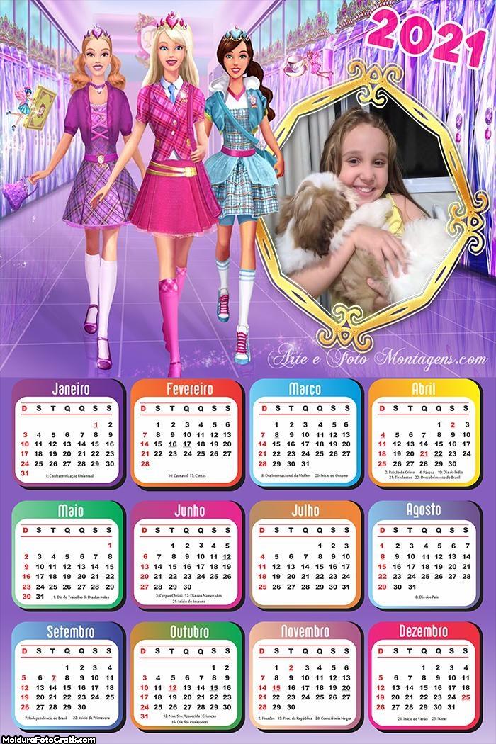 Calendário Barbie Escola 2021