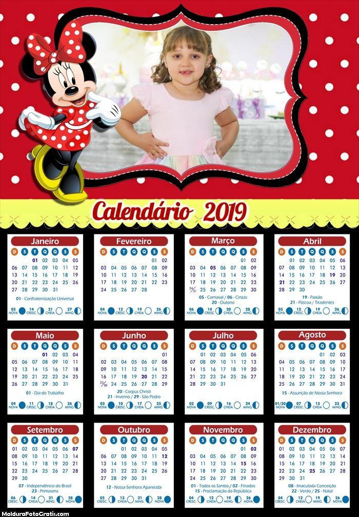 Calendário Minnie Vermelha 2019