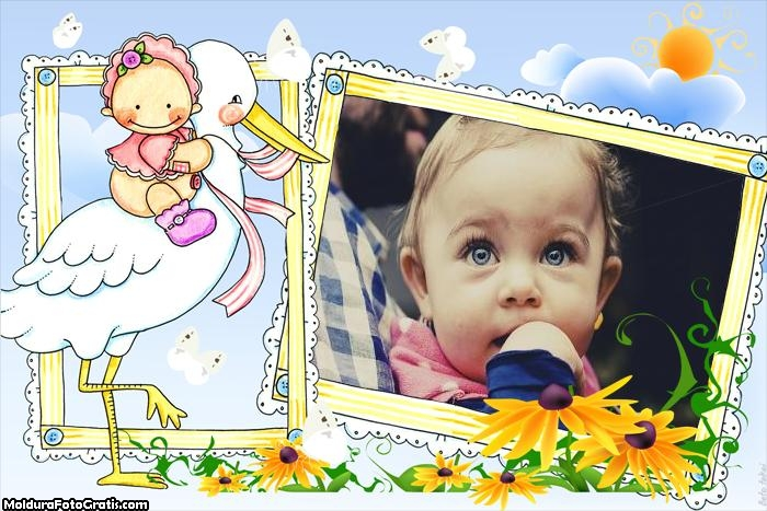 Bebê com Cegonha Moldura