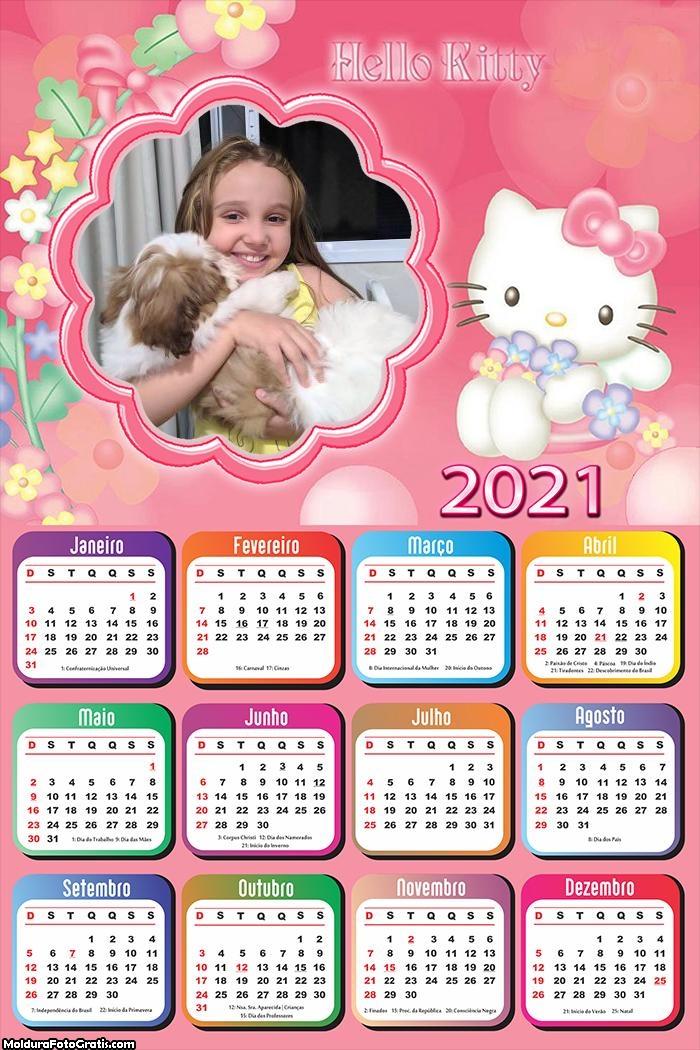 Calendário Personagem Hello Kitty 2021