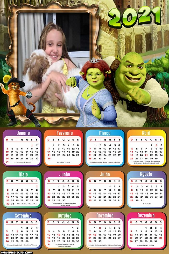 Calendário Shrek 2021