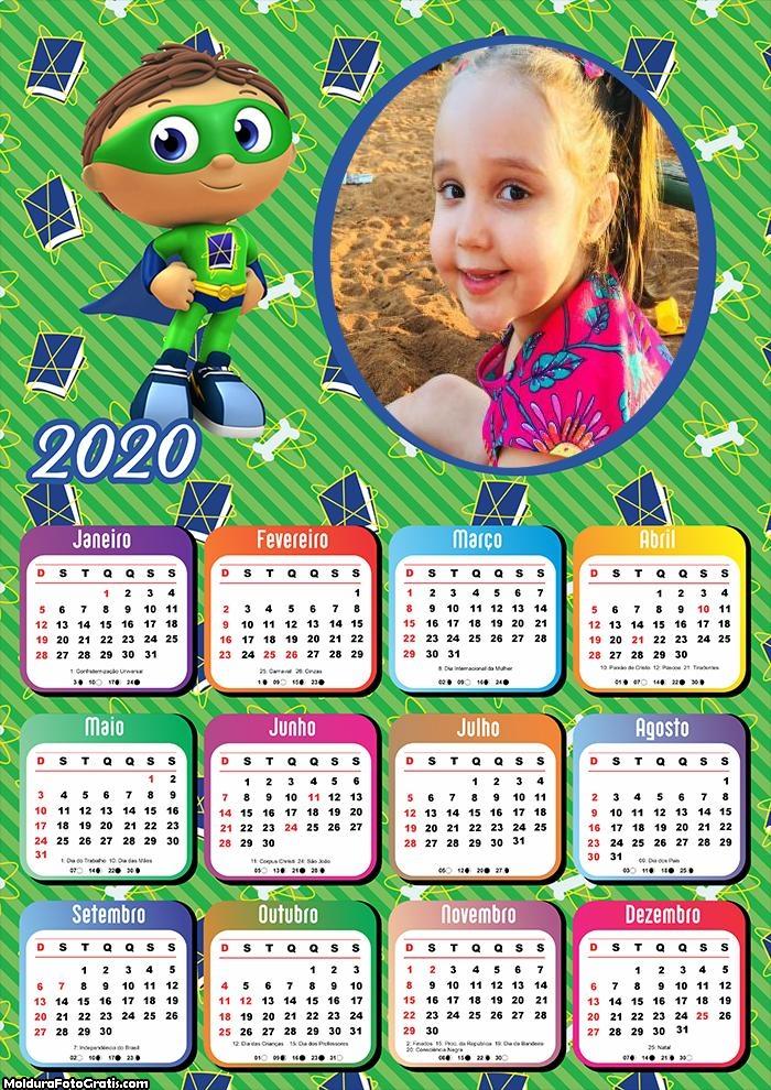 Calendário Super Héroi Infantil 2020