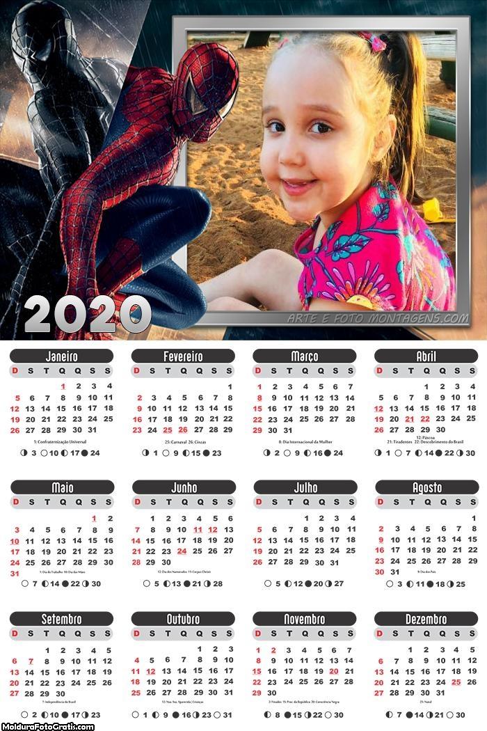 Calendário Homem Aranha 2020