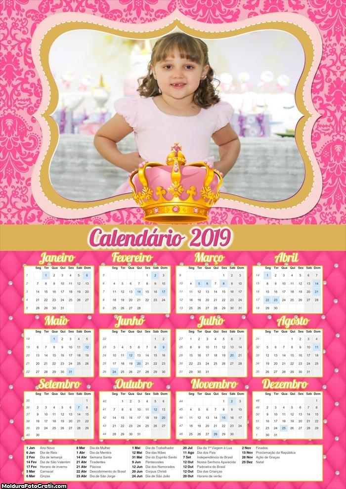 Calendário Realeza Menina 2019