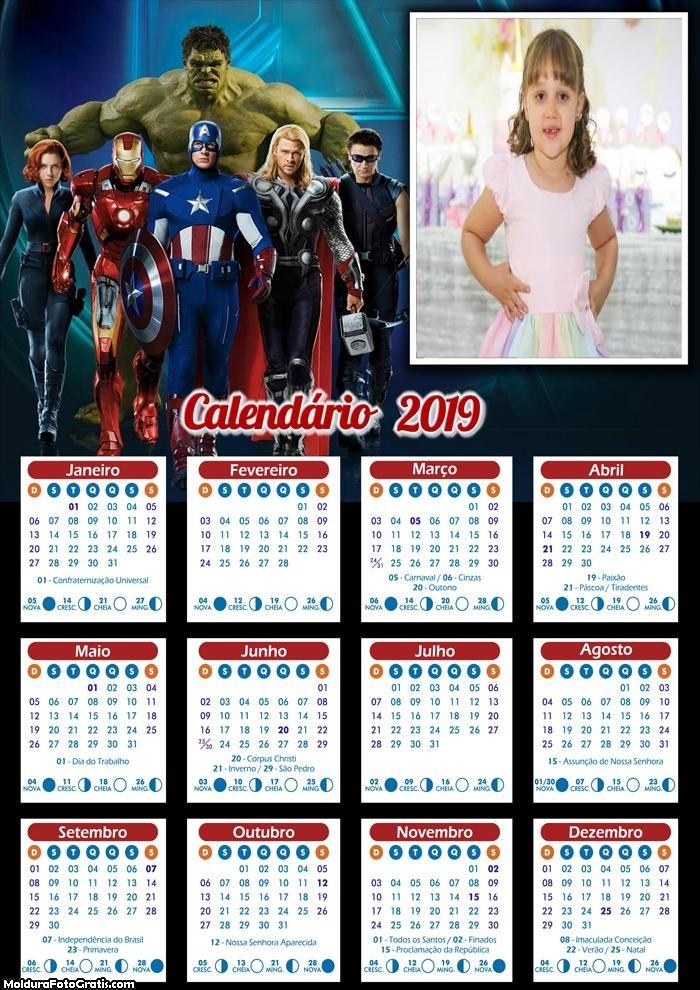 Calendário dos Vingadores 2019