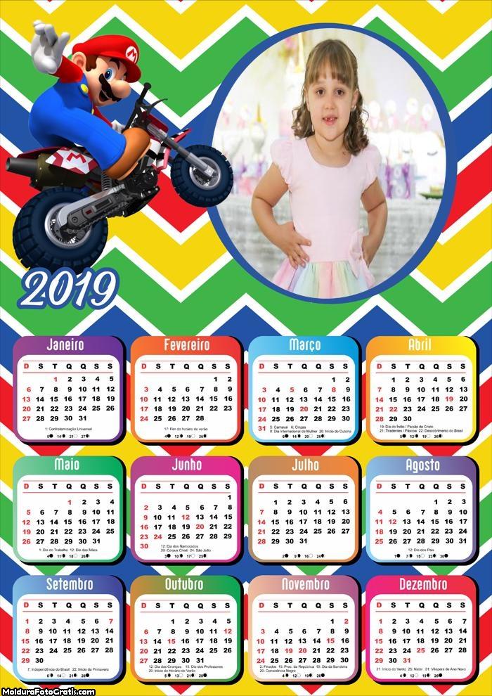 Calendário Super Mario Bros Motocross 2019