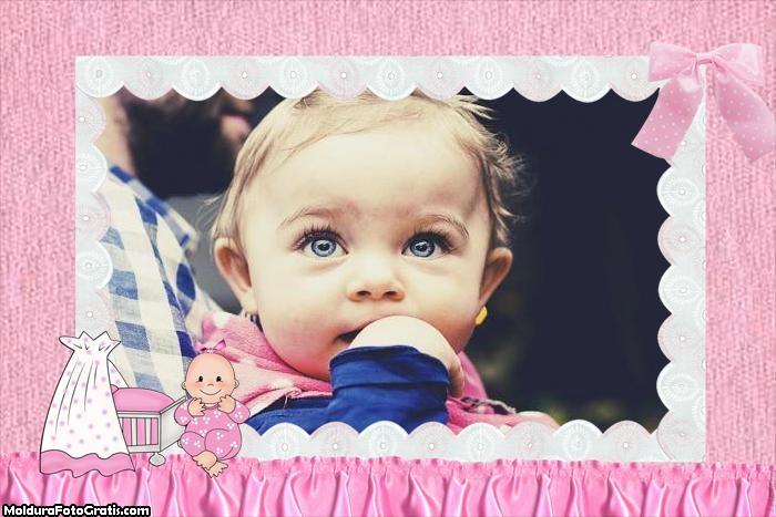 Moldura de Bebê Menina Rosa