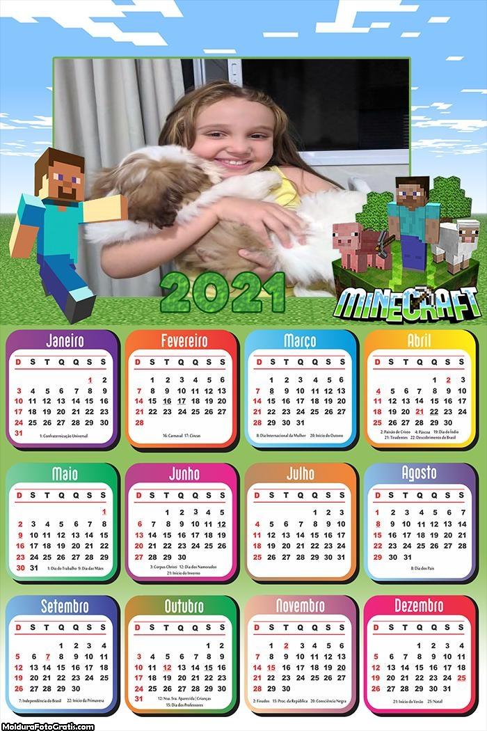 Calendário Minecraft 2021