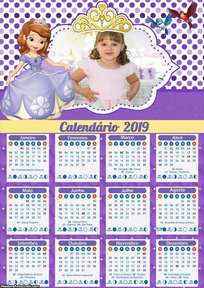 Calendário da Princesa Sofia 2019