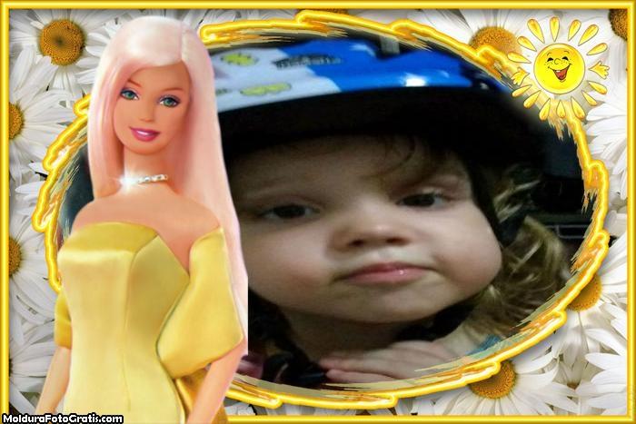Foto Moldura Barbie Loira Amarelo