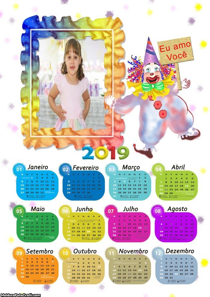 Calendário Palhacinho 2019 Moldura