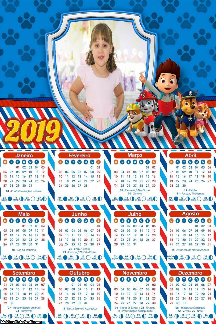 Calendário Patrulha Canina Personagens 2019