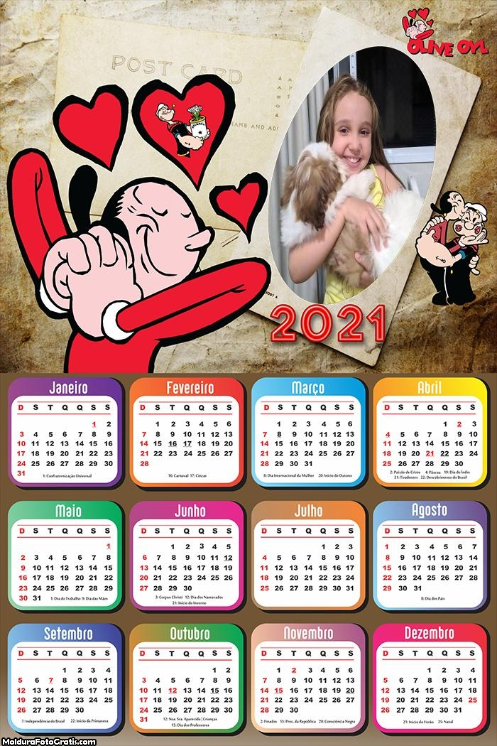 Calendário Olivia Palito 2021